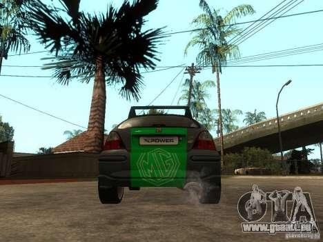Rover MG ZR EX258 pour GTA San Andreas sur la vue arrière gauche