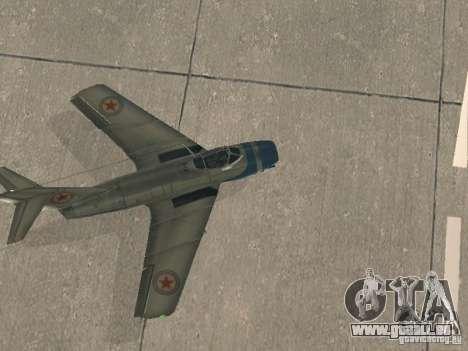 MiG-15 mit Waffen für GTA San Andreas rechten Ansicht