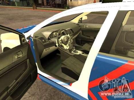 Mitsubishi Lancer X Police Indonesia für GTA San Andreas zurück linke Ansicht