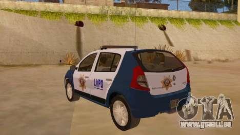 Renault Sandero Police LV pour GTA San Andreas sur la vue arrière gauche