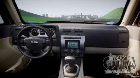 Hummer H3 für GTA 4 Rückansicht