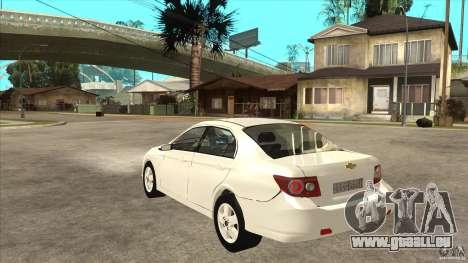 Chevrolet Epica 2008 pour GTA San Andreas sur la vue arrière gauche