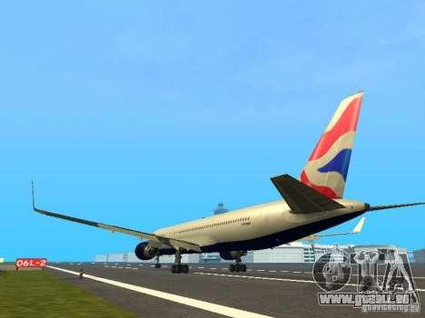 Boeing 767-300 British Airways pour GTA San Andreas sur la vue arrière gauche