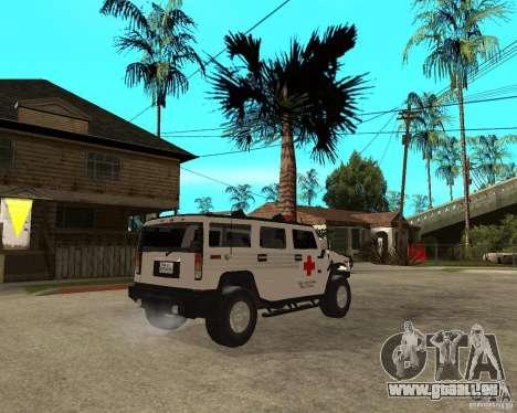 AMG H2 HUMMER - RED CROSS (ambulance) pour GTA San Andreas sur la vue arrière gauche