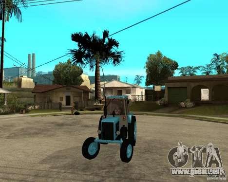 Tracteur Belarus 80,1 et remorque pour GTA San Andreas vue arrière