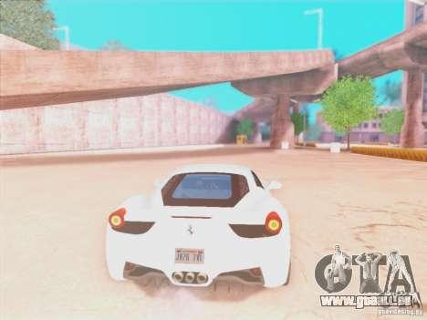 Ferrari 458 2010 für GTA San Andreas Rückansicht