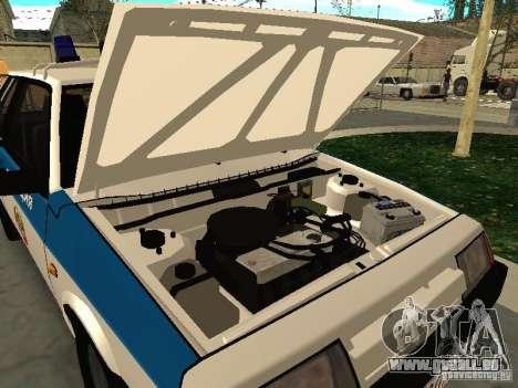 VAZ 2108 Police pour GTA San Andreas vue arrière
