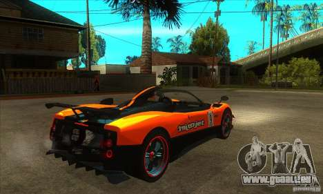 Pagani Zonda Cinque pour GTA San Andreas vue de droite