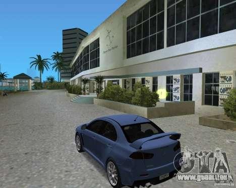 Mitsubishi Lancer Evo X pour une vue GTA Vice City de la droite