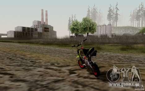 Kawasaki 50cc Pocket Factory Bike pour GTA San Andreas sur la vue arrière gauche