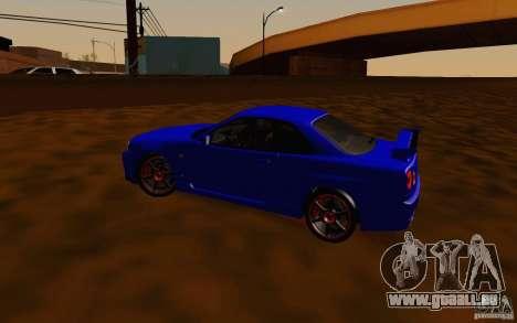 Nissan Skyline R34 GT-R V2 pour GTA San Andreas vue intérieure