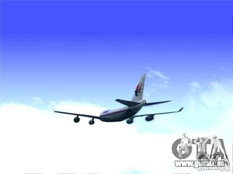 Boeing 747-400 Malaysia Airlines für GTA San Andreas zurück linke Ansicht