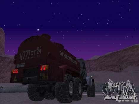Camion KrAZ-255 carburant pour GTA San Andreas sur la vue arrière gauche