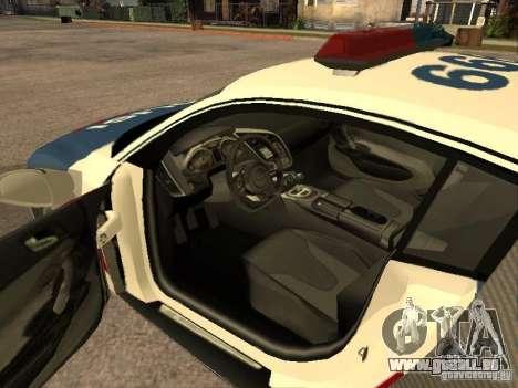Audi R8 Police Indonesia pour GTA San Andreas sur la vue arrière gauche