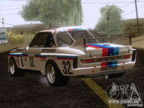 BMW CSL GR4 pour GTA San Andreas sur la vue arrière gauche