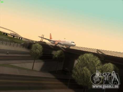 Airbus A320-214 EasyJet pour GTA San Andreas sur la vue arrière gauche