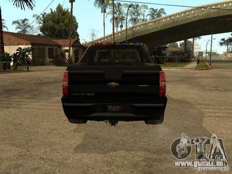 Chevrolet Avalanche Police für GTA San Andreas rechten Ansicht