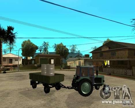 Tracteur Belarus 80,1 et remorque pour GTA San Andreas vue de côté