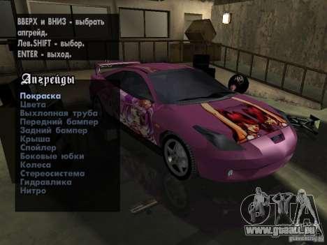 Toyota Celica pour GTA San Andreas vue intérieure