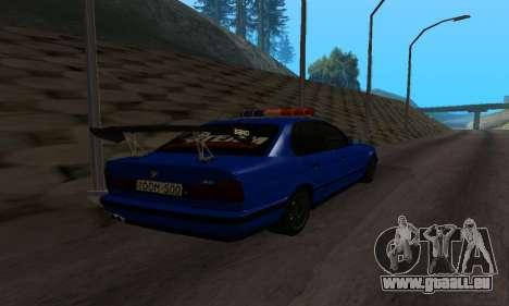 BMW M5 POLICE pour GTA San Andreas sur la vue arrière gauche