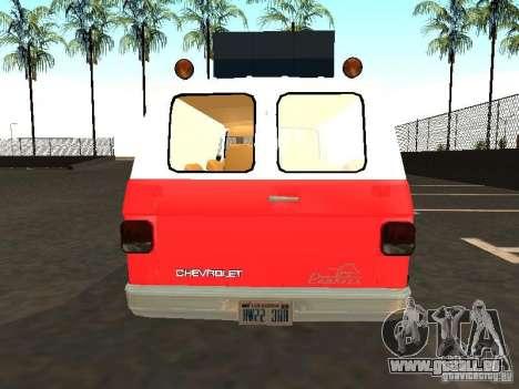 Chevrolet Van G20 LAFD pour GTA San Andreas vue de droite
