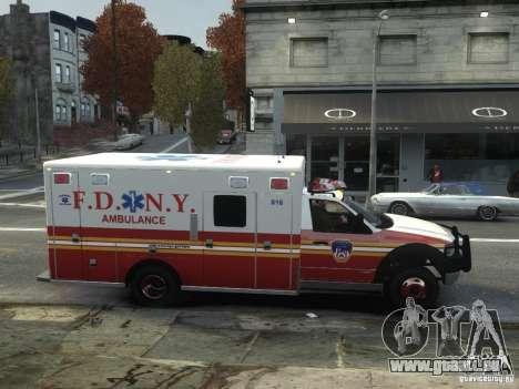 Ford F-350 Ambulance FDNY pour GTA 4 Vue arrière