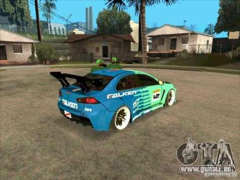 Mitsubishi Evo X Falken für GTA San Andreas rechten Ansicht