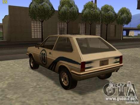 Ford Fiesta 1981 pour GTA San Andreas laissé vue