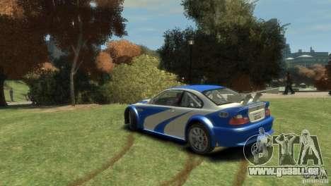 BMW M3 GTR NFS MOST WANTED pour GTA 4 Vue arrière de la gauche
