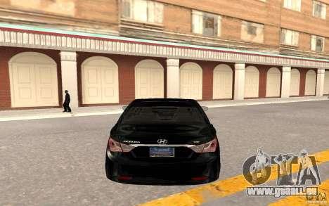 Hyundai Sonata 2012 für GTA San Andreas Rückansicht