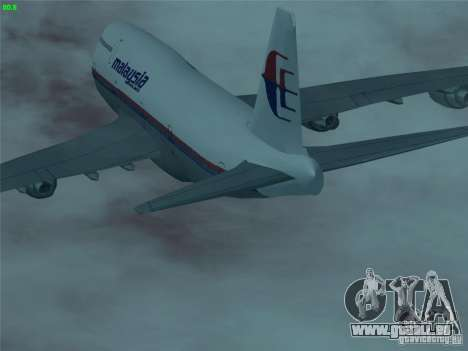 Boeing 747-400 Malaysia Airlines für GTA San Andreas obere Ansicht