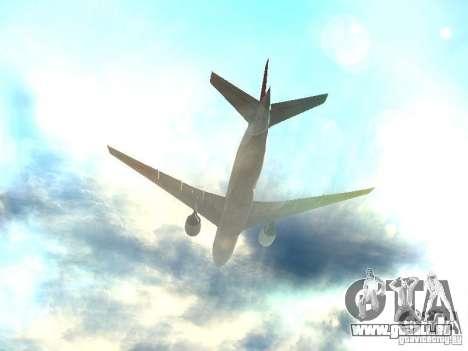 Boeing 777-200 Japan Airlines pour GTA San Andreas vue de dessous