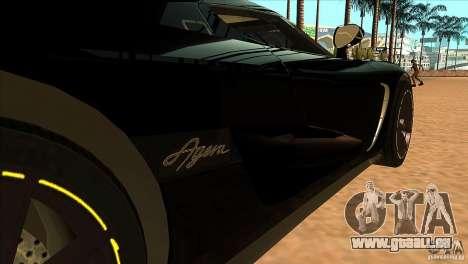 Koenigsegg Agera 2010 pour GTA San Andreas vue intérieure