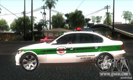 BMW 330 E90 Policija für GTA San Andreas linke Ansicht
