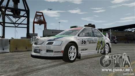 Mitsubishi Lancer Evolution IX RallyCross pour GTA 4 est une vue de l'intérieur