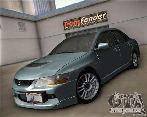 Mitsubishi Lancer Evolution IX Tunable pour GTA San Andreas vue arrière
