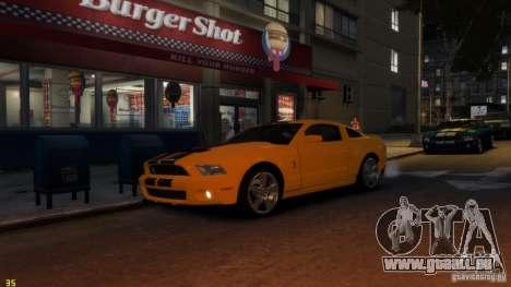 Ford Shelby Mustang GT500 2011 v2.0 pour GTA 4 est une vue de l'intérieur