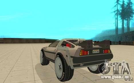 DeLorean DMC-12 (BTTF1) pour GTA San Andreas sur la vue arrière gauche