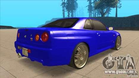 Nissan Skyline R34 FNF4 pour GTA San Andreas vue de droite