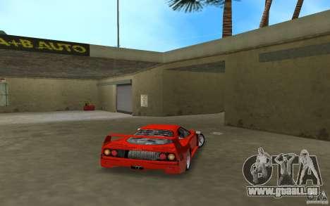 Ferrari F40 für GTA Vice City Rückansicht