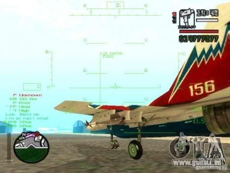 MIG-29 OVT für GTA San Andreas Innenansicht