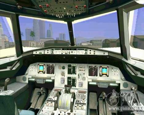 Airbus A-320 compagnie aérienne UTair pour GTA San Andreas vue de dessous