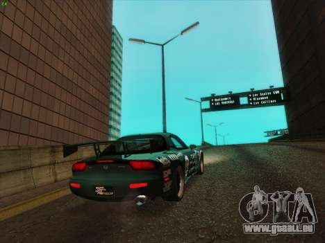 Mazda RX7 rEACT pour GTA San Andreas sur la vue arrière gauche