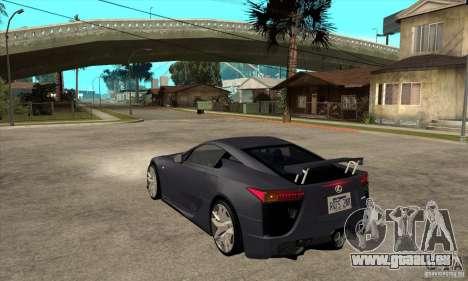 Lexus LFA 2010 v2 pour GTA San Andreas sur la vue arrière gauche