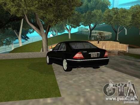 Mercedes-Benz S600 Biturbo 2003 v2 pour GTA San Andreas sur la vue arrière gauche