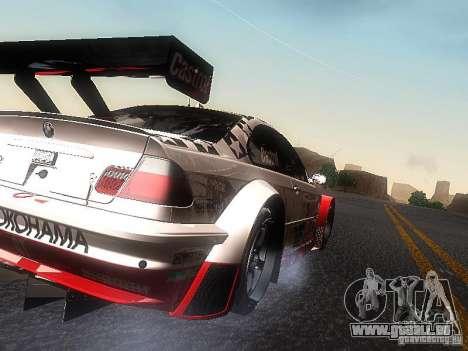BMW M3 GTR1 pour GTA San Andreas sur la vue arrière gauche