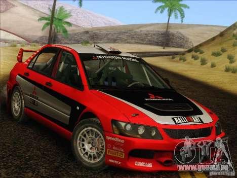 Mitsubishi Lancer Evolution IX Rally pour GTA San Andreas vue de côté
