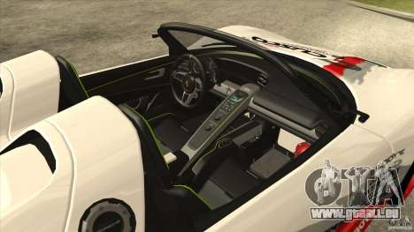 Porsche 918 Spyder Consept pour GTA San Andreas vue intérieure