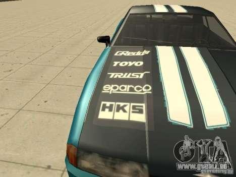 Elegy Forsage pour GTA San Andreas vue intérieure