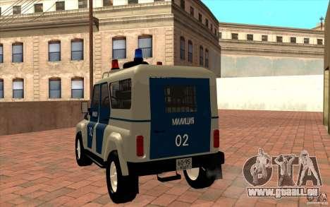 Bobik UAZ-3159 Police c. 2 pour GTA San Andreas sur la vue arrière gauche